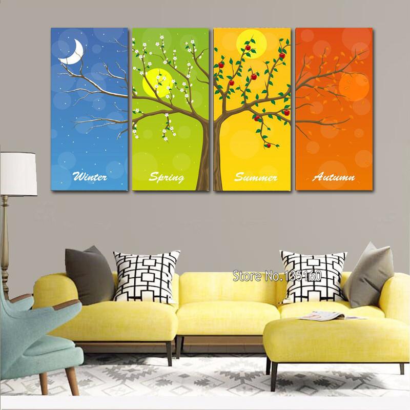 Hoge Kwaliteit Groothandel Vier seizoenen boom muur schilderen van ...