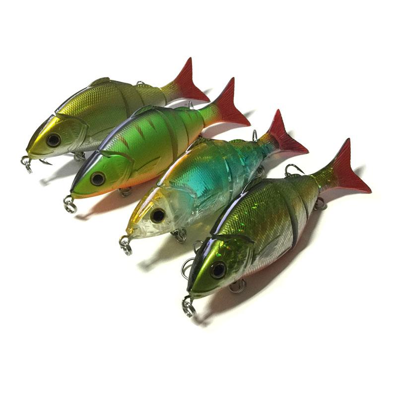MIZUGIWA Artificial Peche Swimbait 3D Eyes Fishing Lure Four Sections Jointed Sea Fishing Plastic Hard Bait 125mm 20g Pesca(China (Mainland))