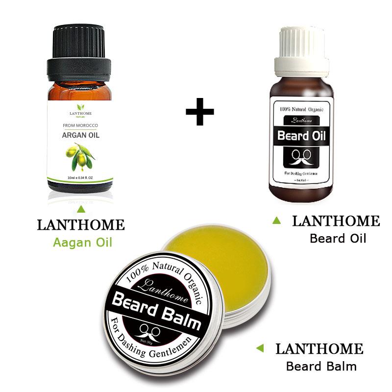 Lanthome Natural Beard Oil Plus Argan OiL Beard Hair Wax Balm Organic Beard Conditioner Leave in Styling Moisturizing Effect(China (Mainland))