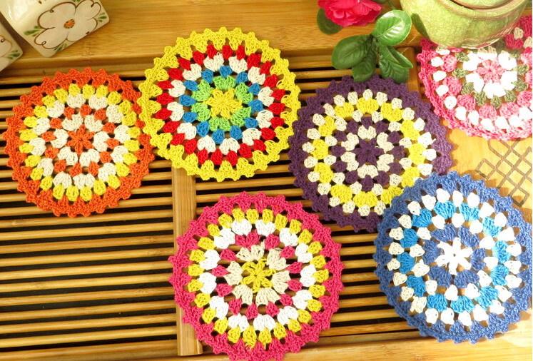 Festive decoration coasters handmade crochet hook flower color cotton doilies round table mat 11cm shooting props 30pcs/lot(China (Mainland))