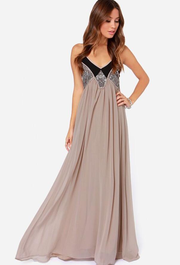 Summer Style New Free Shipping Hole Sexy Slim Khaki Beautiful Fashion Casual Long Dress For
