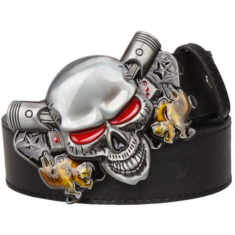 Wild exaggerated style belt Joker Poker metal buckle belts demon clown skull Men's leather belt hip hop waistband(China (Mainland))
