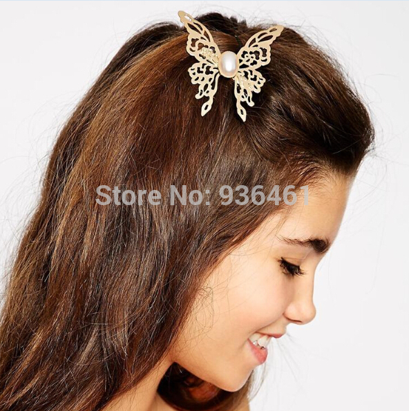 (3pcs/lot) New Arrival Luxury Charm Hair Clip Barrette Pearl Golden Butterfly Hair Pin Hair Accessories Headpiece for Women Girl(China (Mainland))
