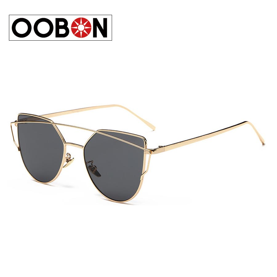 OOBON 2016 New Fashion Cat Eye Sunglasses Women Brand Designer Twin-Beams Ladies Sunglasses Metal Mirror Glasses Sexy Shades(China (Mainland))
