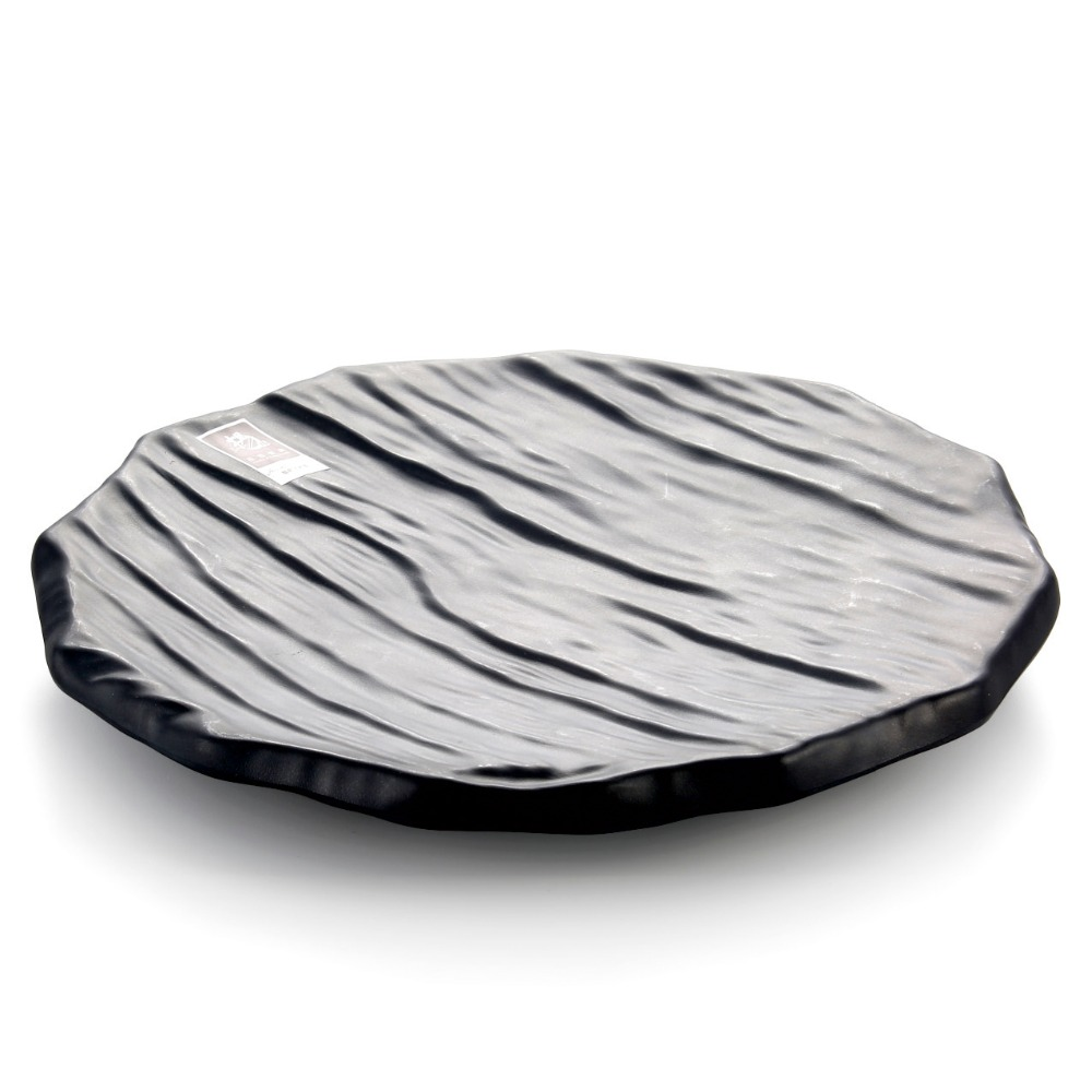 Round imitation wooden board melamine frost black color plate sushi dish wholesale tableware suppliers(China (Mainland))