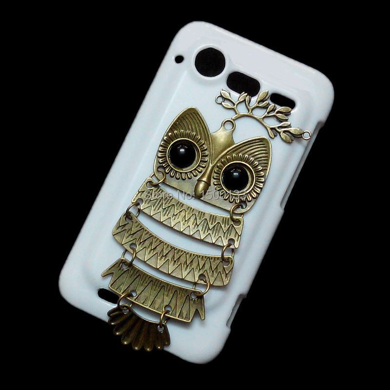 Retro Bronze Branch Leaves Owl Case Cover For HTC Incredible S G11, Unique Fashion White Handmade Hard Back Shell Skin(China (Mainland))