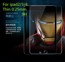 High Quality Tempered Glass  LCD Screen Protector Protective guards Films Cover for new ipad 2/3/4 With CleanCloth