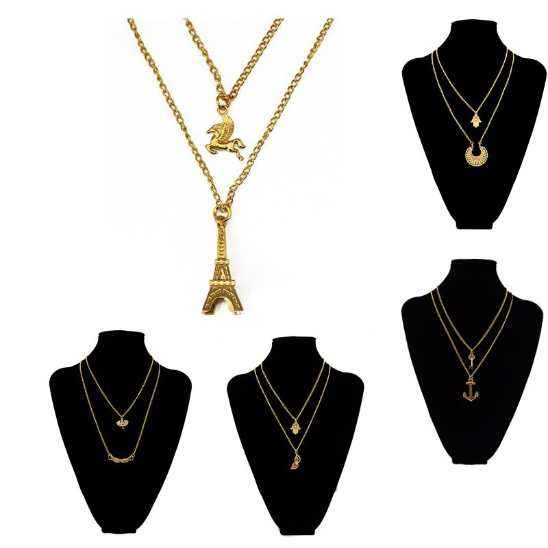 New Gold Double Layer Chain Anchor Wing Horn Pendant Necklaces Fatima Hand Eiffel Tower Long Bar Necklace Accessories Jewelry(China (Mainland))