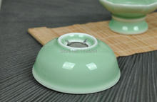 Longquan Kiln Celedon Handmade Ware Mesh Strainer Stand Gongfu Tea