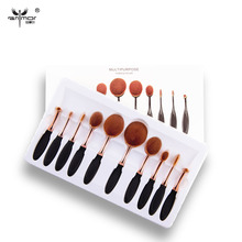 New Arrival 10pcs/set Tooth Brush Shape Oval Makeup Brush Set MULTIPURPOSE Professional Foundation Powder Brush Kits with Box(China (Mainland))