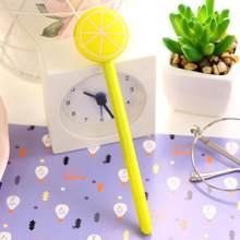 1 pièce Fruit Kawaii fournitures scolaires bureau papeterie Gel stylo poignées créatif mignon doux citron Orange pastèque(China)