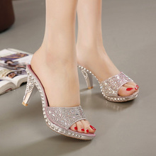 Hot Sales 2 colors SIZE 35-40 New sexy Women Sandals Rhinestone bow Decorated Ladies Sandal Women slippers Fashion Shoes