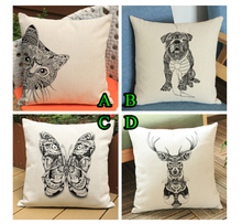 3D Digital Butterfly and Deer Cushion Cover