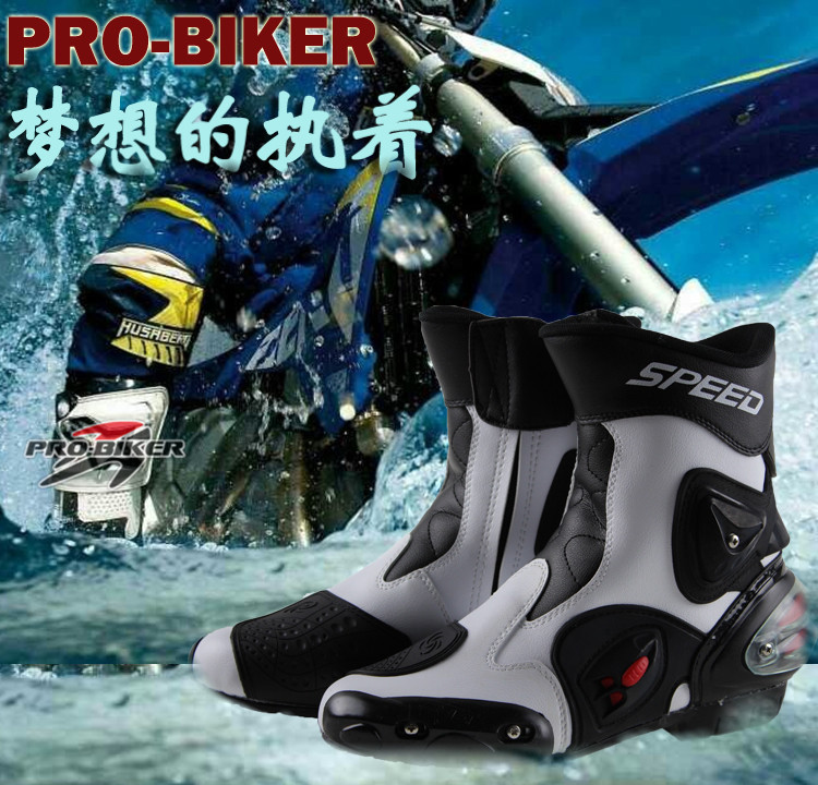 Free shipping Pro-biker Speed racing cycling shoe motorcycle racing boots motorcycle boots shoes motorcycle shoes A004 /white