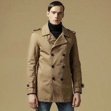 New Brand Trench Coat Men Cotton Casual Autumn Spring Double Breasted windbreaker Long Overcoat  3 Color EU Size M-2XL  A0894(China (Mainland))
