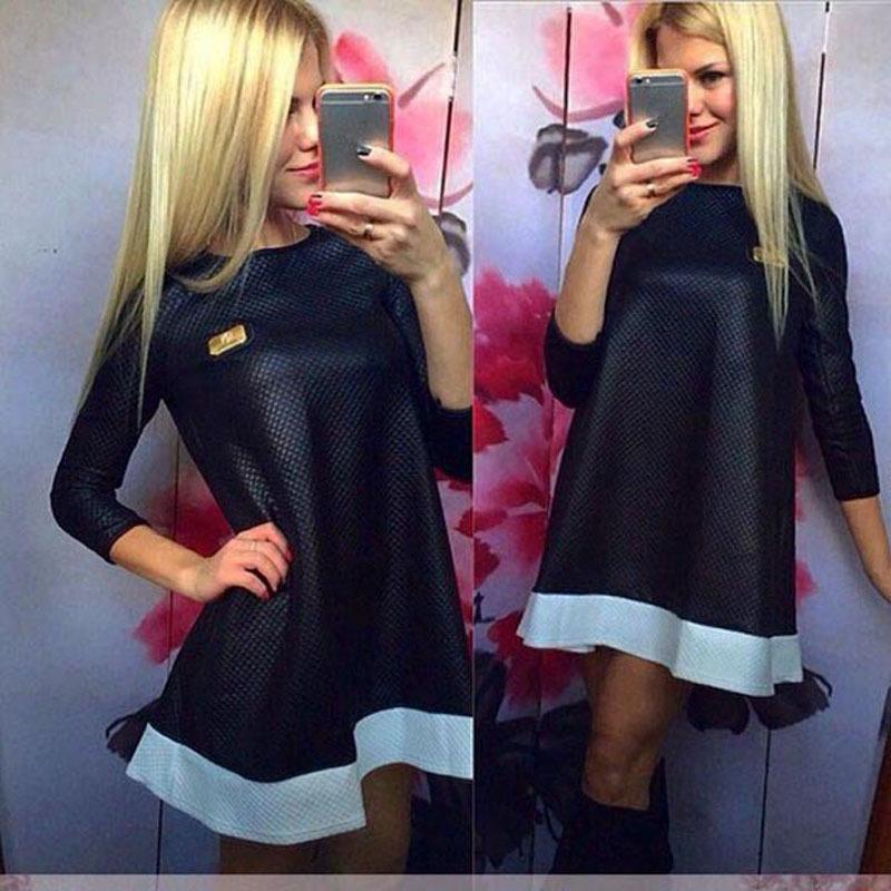 2016 New Fashion Vestidos Women Casual Dresses Loose Spaid Print Leather Zipped Black&White O-Neck Plus Size Mini Party Dress