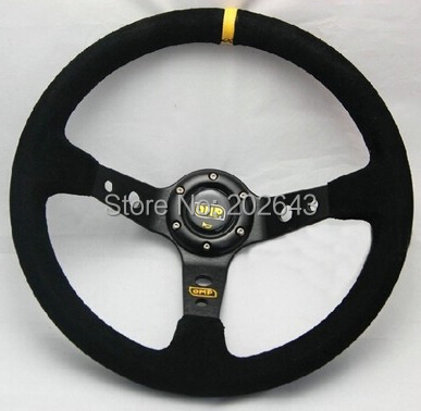 GV-ST002 14'' black racing car steering wheel  with  anodized color bracket pvc pu leather steering wheel auto 350mm car styling