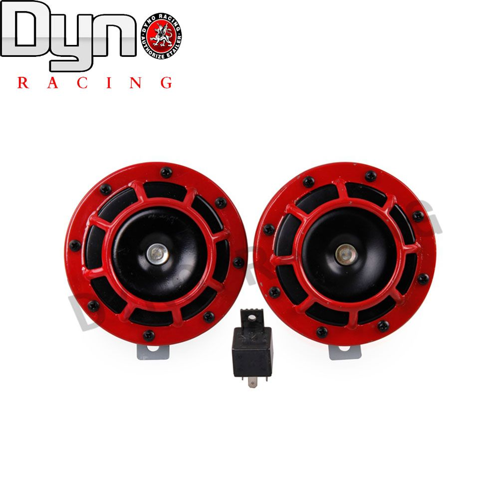 DYNO - 2015 NEW red Loud Air Horn Compact for Motorcycle Car Siren Dual Tone Electric Pump auto horn 1pair=2pcs(China (Mainland))