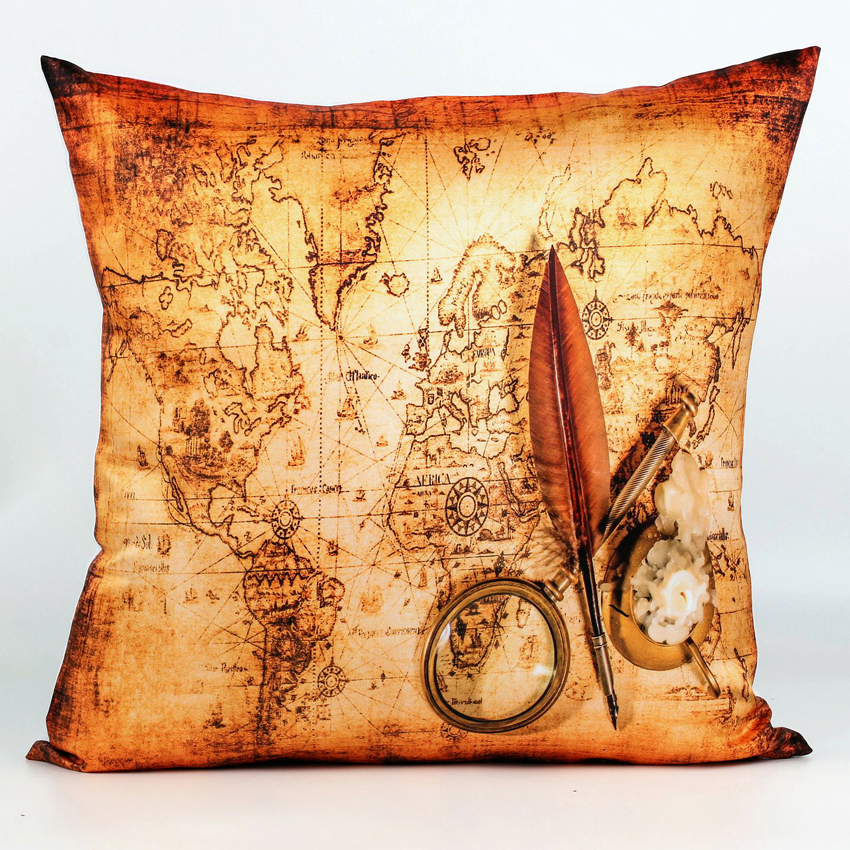 45 cm 45 cm Decorative Vintage Cushion Covers 4 Styles World Map Sofa Throw Pillow Covers