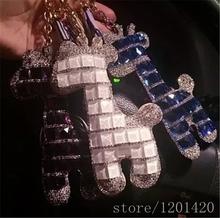 bling women bag charms, bling giraffe keychains glitter wallet purse charms handmade charms for bag + key chain