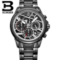 Chronograph Sport Men Watches BINGER Switzerland Luxury Brand Watch Quartz Watch Military Clock Stainless Steel Strap