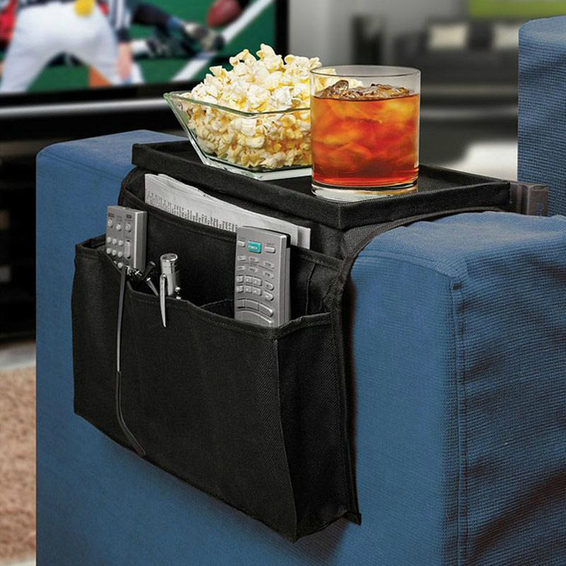 New 6 Pockets Arm Rest Organizer Remote Control Holder Table Bag Sofa Couch Storage #52530(China (Mainland))