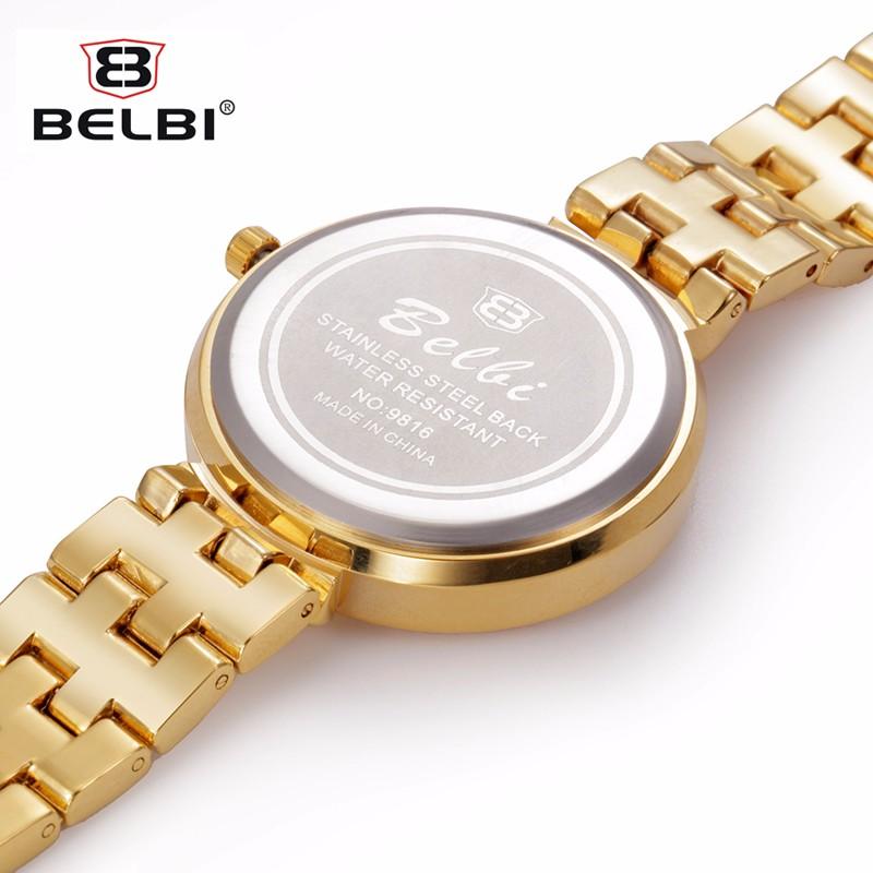 BELBI Часы Люксовый Бренд Женщины Кварцевые Часы Мода Золото Стали Смотреть Полный Горный Хрусталь Платье Наручные Часы Ювелирные Изделия Relojes 2016
