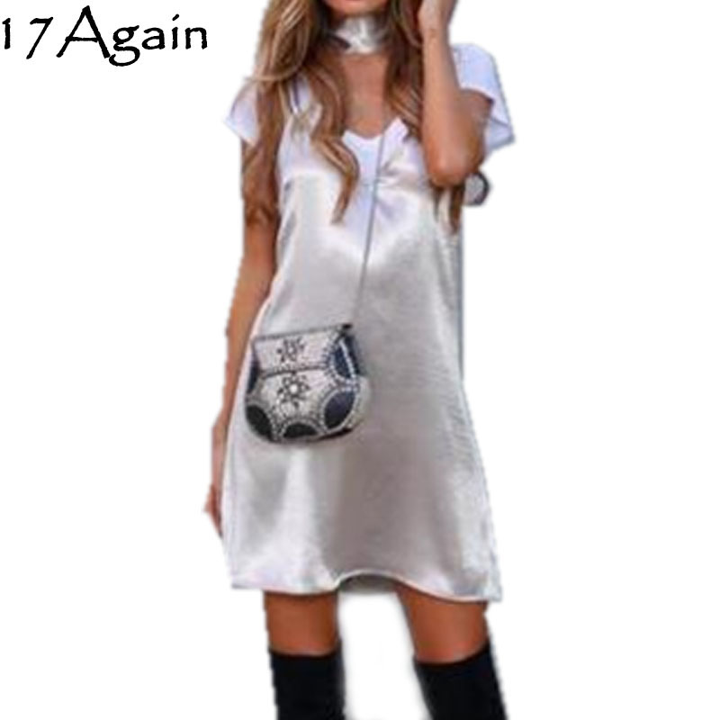 17Again Cheap Dresses For Sale Shiny Silver Cute Short V Neck with Choker A-Line Casual Dress(China (Mainland))