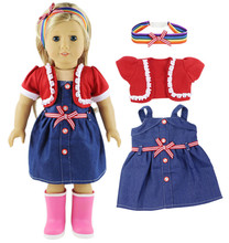 """2016 Time-limited Hot Sale Accessories Girls Cloth Handmade Cotton Jacket+dress Outfit Clothes For 18"""" American Girl Doll(China (Mainland))"""