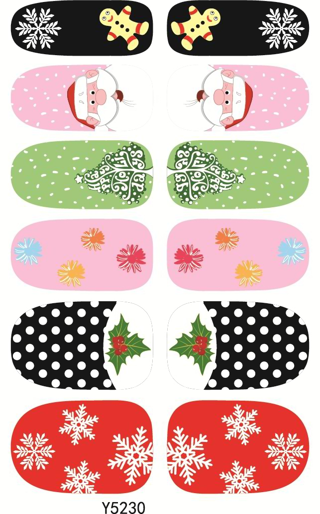 Y5230 Manicure Foil Decor Decal Adhesive Nail Art Stickers Merry Christmas Dots Sweet Snowflake Design Nail Wrap Sticker(China (Mainland))