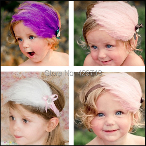 4 pieces/lot Fashion Baby Infant Toddler Headband Natural feathers bowknot HairBand Headwear Gift hair accessory christmas wear()