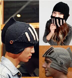 2015 Roman Knight Helmet hats for women men cotton acrylic Skull Knit Crochet Gladiator Mask Windproof Snowboard Beanies hat(China (Mainland))