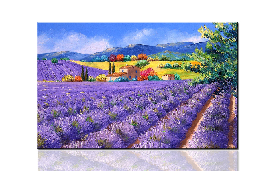 H747X-N Lavender fields, large HD canvas print painting artwork, wall art picture photo gift for living room,wholesale drop ship