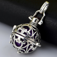 H49-18 Angel Caller Jewelry Silver Locket Pendant Colorful Harmony Ball Chime Bola Pendant For Women (Cage with Ball)(China (Mainland))