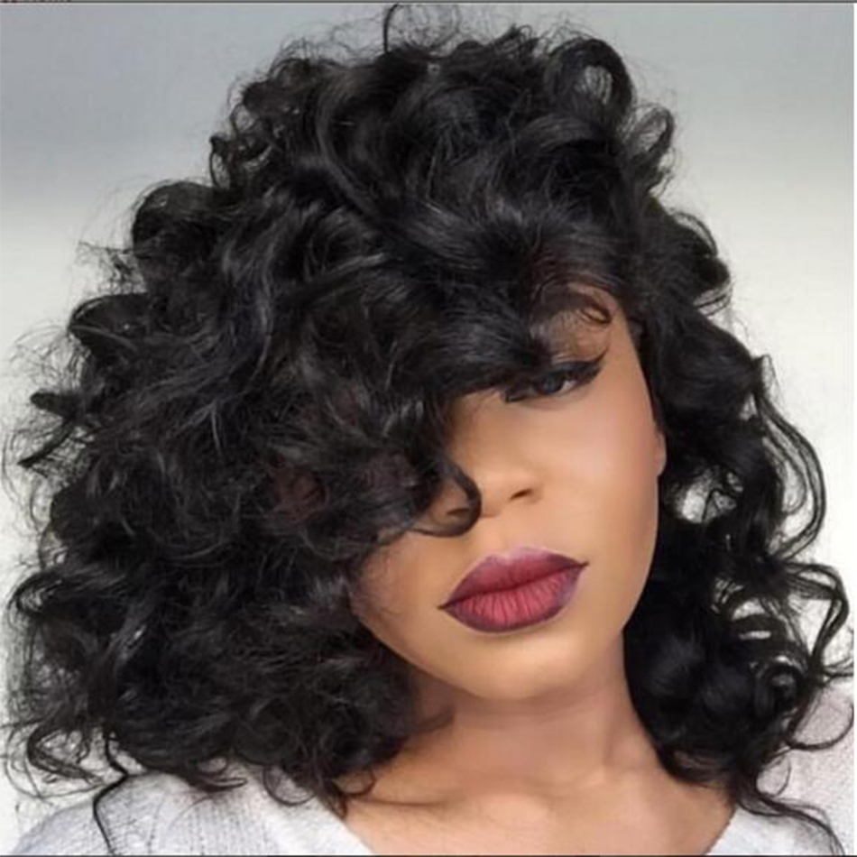 8A+ side part wavy short wigs for black women brazilian lace front short wigs with baby hair short bob full lace human hair wigs(China (Mainland))