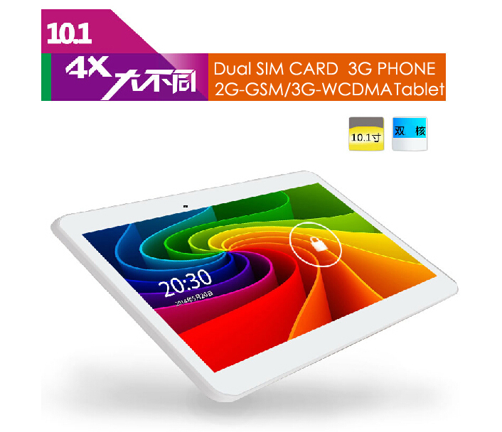 Free shipping Cell Phone Tablet PCs Duad Core 10 Inch Note 3G 2G GSM 3G WCDMA Android 4.4 1.3GHZ 1G/8GB White With FREE Case(China (Mainland))