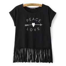 PEACE LOVE Print Women Tshirt White/Black Casual Short Sleeve Tee Shirt New Spring Summer O Neck Tassel Tops Camisetas Femininas(China (Mainland))