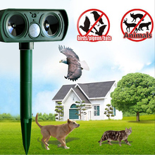 Gardening Accessories Cat Dog Pest Repeller Solar Power Ultra Sonic Scarer Frighten Animal Repellent Use for Outdoor(China (Mainland))