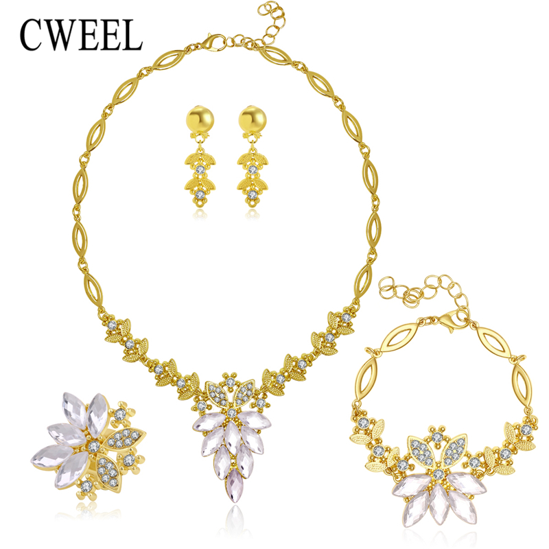 African Jewelry Set 18k Gold Plated Filled White Sapphire Clear Austrian Crystal Women Wedding Necklace Bracelet Earring Ring(China (Mainland))
