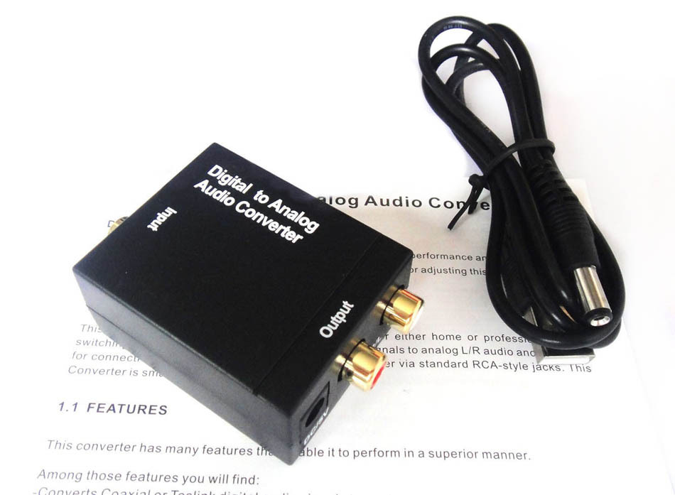Digital Optical Coaxial Toslink Signal to Analog Audio Converter Adapter RCA L/R(China (Mainland))