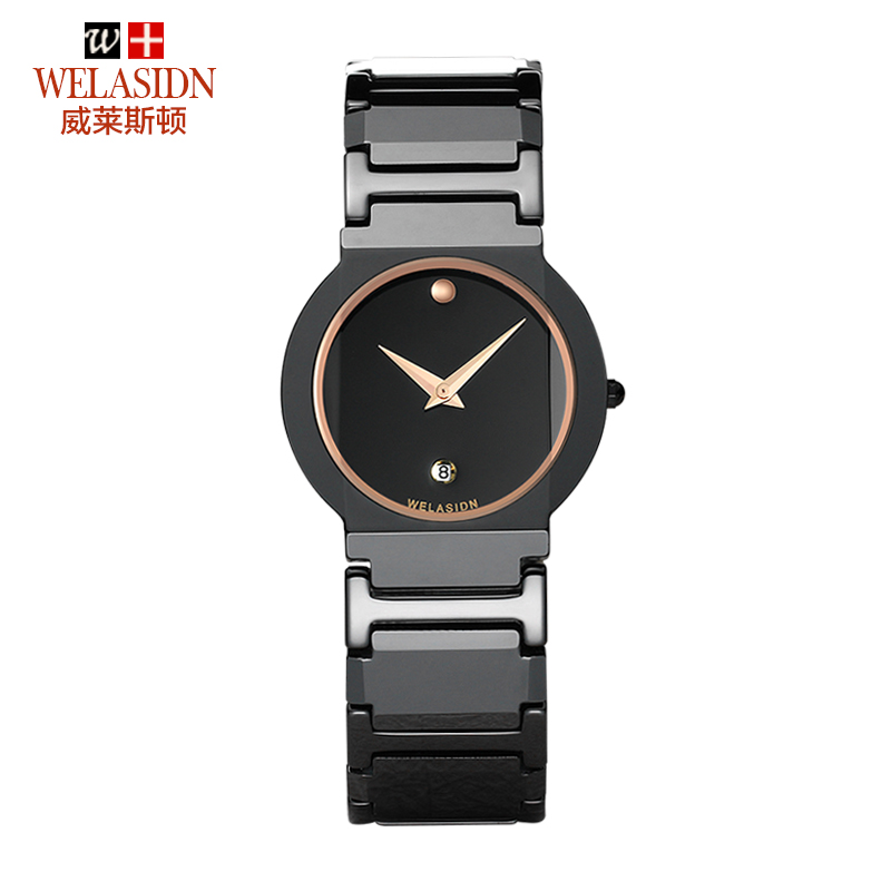 Free shipping - wholesale - Ms rose gold ring ceramic watches WELASIDN ultra-thin quartz watch waterproof ladies fashion table(China (Mainland))