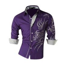 New Casual Luxury Dress Men's Shirts Tattoo Dragon Printed Slim Fit shirt Fashion For Men Brand Long Sleeve Shirts US XS-XL