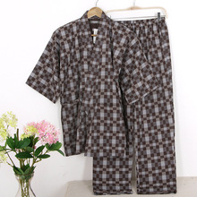 Hot sale summer 100%Cotton short sleeve pajama sets men simple Japanese kimono suits for male pijama hombre pyjamas masculino(China (Mainland))