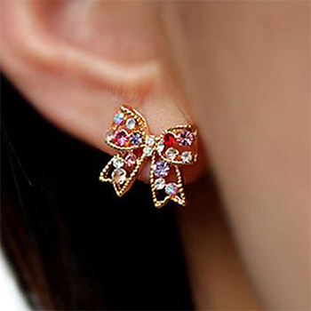 Colorful Crystal Bowknot Stud Earrings