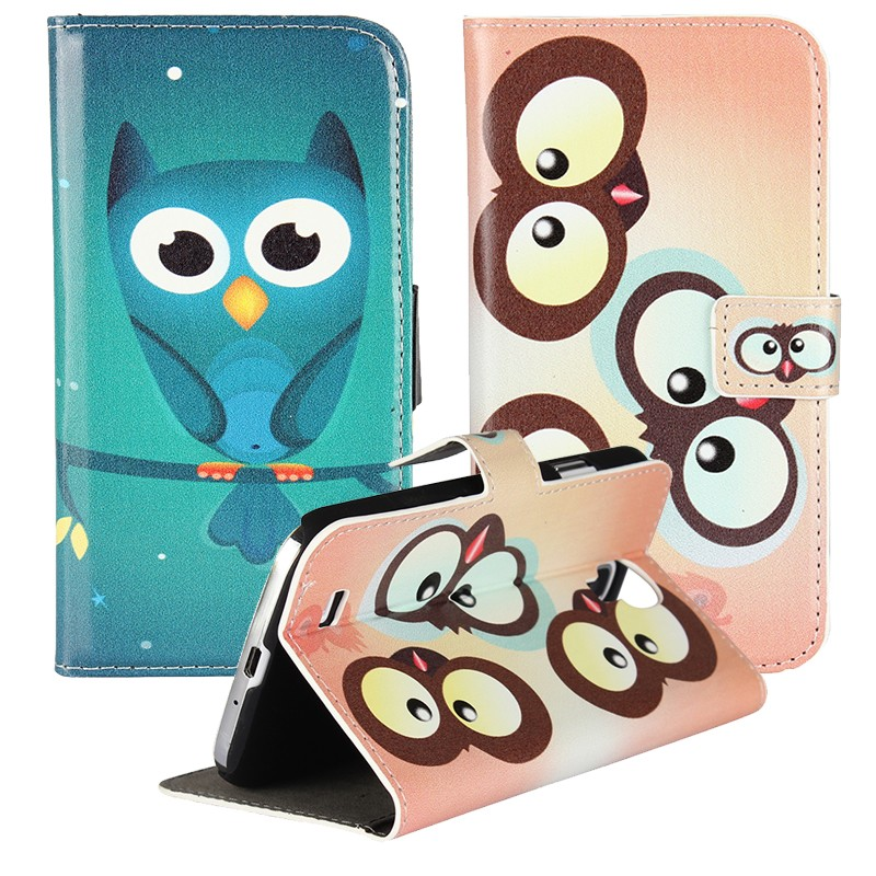 For Samsung Galaxy S4 Mini S4mini Cases Cover Owl Leather Wallet Bags Flip Case Card Slot Book Stand Capinhas Para Etui Coque(China (Mainland))