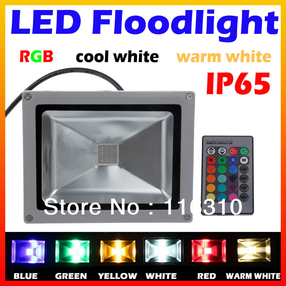 10W 20W 30W 50W LED Outdoor Floodlight RGB Warm White Cool White with IR Remote Controller 16 Colorful(China (Mainland))