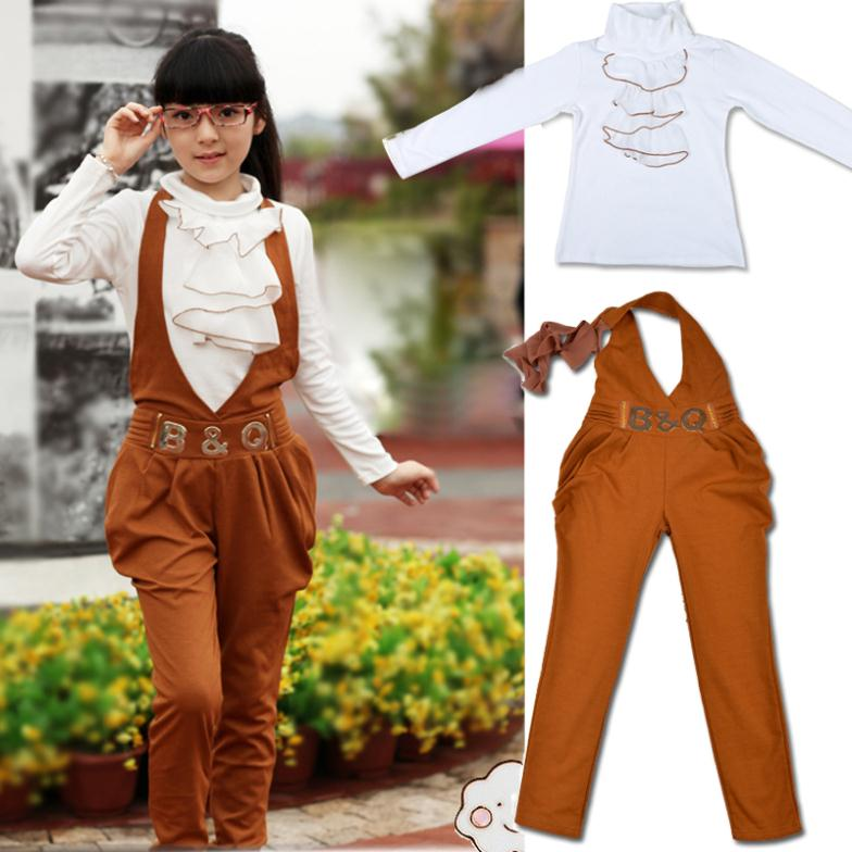 childrens clothing fashion kids long-sleeve T-shirt+ Overalls pants 2 pieces fashion girls clothes twinset in spring and autumn(China (Mainland))