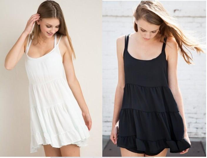 Woman Summer Dresses European American brandy melville chiffon spaghetti strap Vintage Dress sleeveless Vestidos Plus size J2855(China (Mainland))