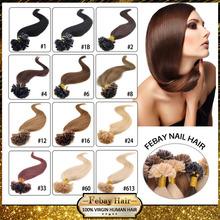 """18""""-24"""" 50G Natural Human Hair Nail Tip Hair Extension Keratin Prebonded  U tip hair 13colors to choose 100s/lot  free shipping(China (Mainland))"""
