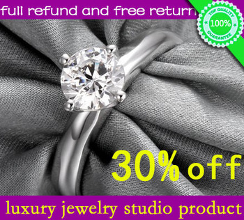 Wholesale Luxury Quality 1 Carat Simulated Diamond Rings For Women ,NSCD Synthetic Diamond!,Halo Wedding Enagement Ring
